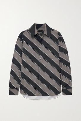 Meryll Rogge Oversized Crystal-embellished Striped Cotton-poplin Shirt - Gray