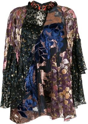 Biyan patchwork devoré top