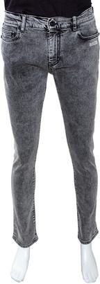 Off-White Off White Grey Logo Print Acid Washed Denim Skinny Jeans M