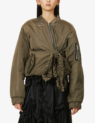 Act N1 Ruffled tie-belt shell bomber jacket