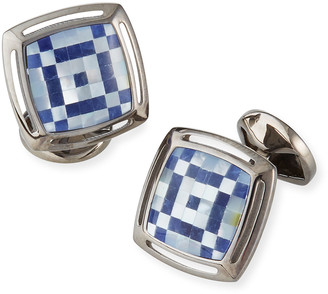 Tateossian Men's Art Deco Mother-of-Pearl & Sodalite Mosaic Cufflinks