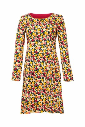 Weird Fish Delray Organic Cotton Printed Jersey Dress Apricot Size 22