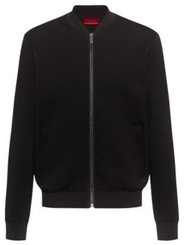 HUGO BOSS Relaxed Fit Bomber Jacket In Cotton Blend Jersey - Black