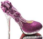 Naly Women's Pearl Glitter Bridal Shoes Wedding Dress Mid Heel Sandals 8B