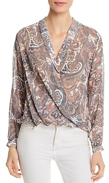 Elan International Paisley Print Chiffon Wrap-Front Top