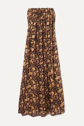 Matteau Strapless Floral-print Cotton-poplin Maxi Dress - Brown