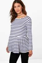 boohoo Maternity Darcey Stripe Frill Hem Top navy
