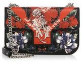 Alexander McQueen Floral-Print Insignia Leather Chain Satchel