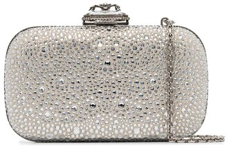Alexander McQueen Crystal-Embellished Suede Box Clutch