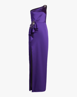 Marchesa Notte One-Shoulder Satin Gown