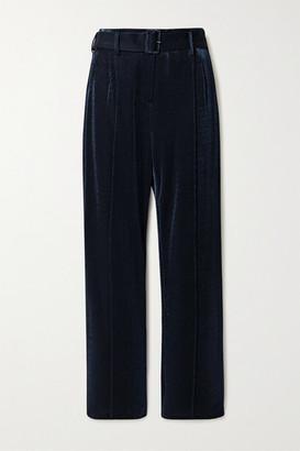 Sally LaPointe Metallic Pique Straight-leg Pants - Midnight blue