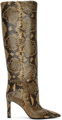 Saint Laurent Beige Python Grace 85mm Boots