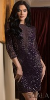 Scala Sequin Embellished 3/4 Sleeve Fitted Cocktail Dress