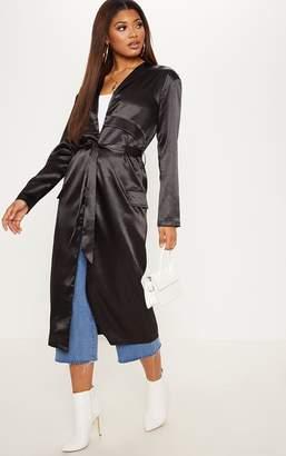 PrettyLittleThing Tall Black Satin Duster Jacket