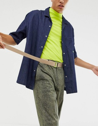 ASOS DESIGN slim long ended belt in beige with neon buckle