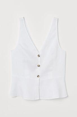 H&M V-neck Linen Blouse - White