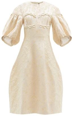 Simone Rocha Puff-sleeve Floral-brocade Dress - Nude