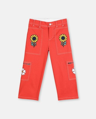 Stella McCartney flowers embroidery denim trousers