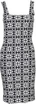 Fausto Puglisi Geometric Dress From White/black Geometric Dress With Sleeveless Design, Square Neckline, Slim Fit, Side Zip Fastening And Straight He