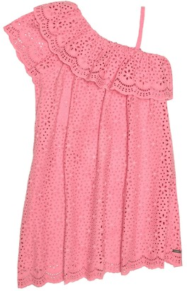 MSGM Kids Cotton broderie anglaise dress