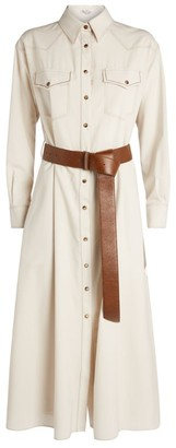 Brunello Cucinelli Belted Wool Shirt Dress