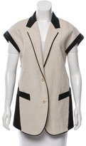 Barbara Bui Vegan Leather-Trimmed Linen-Blend Vest