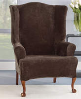 Sure Fit Stretch Plush 1-Piece Wing Chair Slipcover Bedding