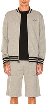 Calvin Klein Reissue Tipping Baseball Jacket in Gray