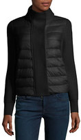 Moncler Maglione Quilted/Tricot Cardigan Jacket, Black