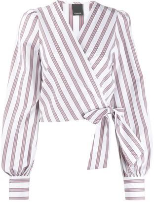 Pinko striped wrap blouse