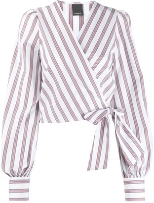 Pinko Striped Wrap Blouse