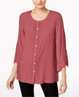 JM Collection Petite Lace-Trim Top, Created for Macy's