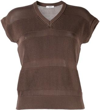 Peserico V-neck short-sleeved knitted top