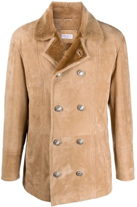 Brunello Cucinelli Double-Breasted Shearling Coat