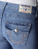 True Religion Womens Hand Picked Bootcut Wflaps Sterling Intricate Jean