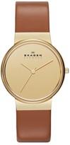 Skagen Round Leather Strap Watch, 34mm