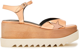 Stella McCartney Indium Elyse Star Cutout Faux Mirrored-leather Platform Sandals