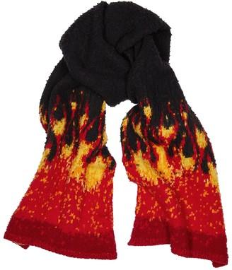 Palm Angels Black flame-intarsia wool-blend scarf