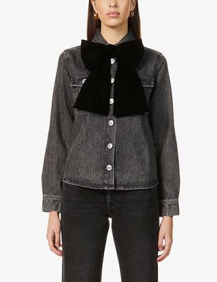 Maje Candice velvet bow-embellished denim jacket