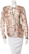 L'Agence Leopard Print Silk Blouse
