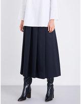 S Max Mara Pleated wool and silk-blend skirt