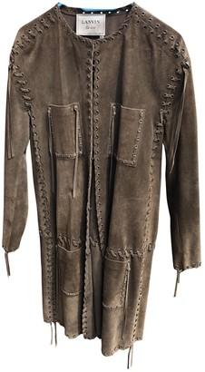 Lanvin Khaki Suede Coat for Women