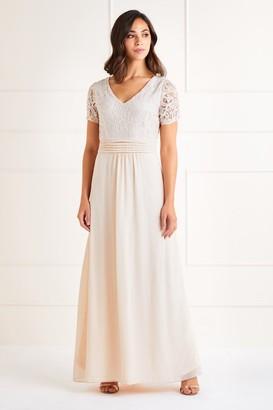 Yumi Lace Top V Neck Maxi Dress