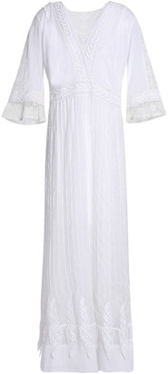 Talitha Collection Crochet-trimmed Embroidered Cotton-gauze Maxi Dress