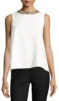 Monique Lhuillier Jeweled-Neck Split-Back Top, White