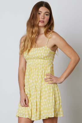 Cotton Candy Square Neck Printed Mini Dress Yellow S