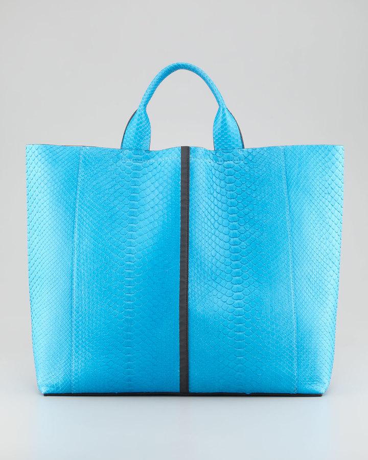 Reed Krakoff Exotic Python Track Tote Bag, Blue