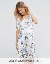 Asos TALL Tea Dress Mini Dress in Vintage Floral Print