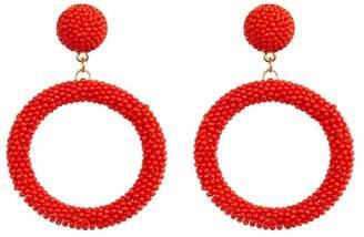 Suzanna Dai Beaded Hoop Drop Earrings