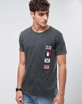 Pull&Bear T-Shirt In Gray With Badge Detail